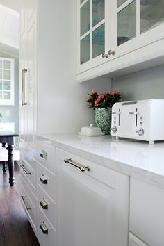 Quartz countertops - Cambria in Torquay finish, Ikea cabinets, glass faced upper cabinets, dark wood floors