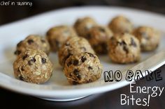 No Bake Energy Bites...I'd tweak the recipe to include less chocolate chips and add in dried cranberries.