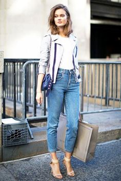mom jeans with strappy heels