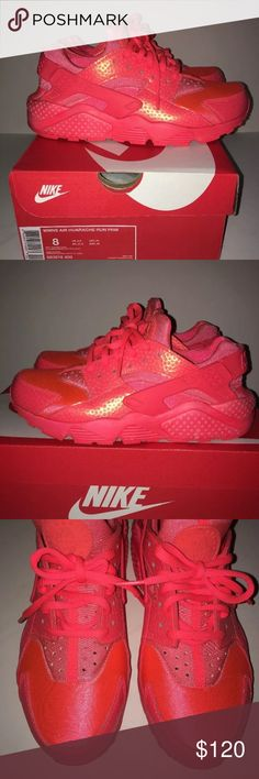 Nike Air Huarache Run 683818-800 Lava Red Sneakers Thislisting is for a pair hot lava Nike Air Huarache Run PRM women's sneakers.  The shoes are pre-loved with typical wear. Pleasereferthephotos andscroll across thethumbnails for more angles.  Theyare asize 8.   They fit TTS.  Do not miss out on this amazing shoe!  If youhave anyadditional questions, pleasecontact me! Nike Shoes Athletic Shoes