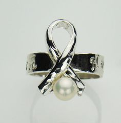 Silver ring Awareness ribbon lung cancer by LaurenBileksJewelry