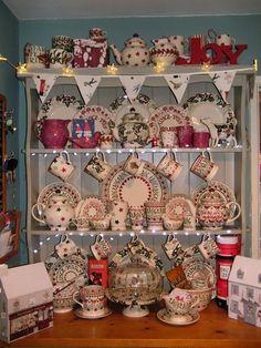 Emma Bridgewater Plum Lustreglaze 2012 on a Christmas Display Christmas Dishes, Christmas Tea, Christmas 2015, Little Christmas, Tea Cup Display, Holiday Fun, Holiday Decor, Festive, Mistletoe And Wine