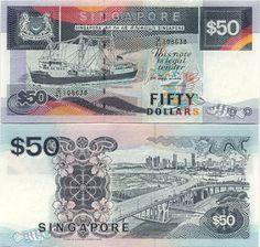 Singapore  50 Dollars (1994) (coaster vessel, bridge)