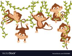 Monkey on vine Royalty Free Vector Image - VectorStock Happy Animals, Zoo Animals, Free Vector Art, Free Vector Images, Tropical Frames, Teddy Bear Sewing Pattern, Monkey Tattoos, Tattoos With Kids Names, Tropical Animals