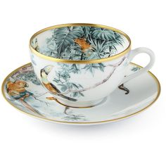 Hermès Carnets d' Equateur Birds Tea Cup & Saucer ($315) ❤ liked on Polyvore featuring home, kitchen & dining, drinkware, hermès, porcelain tea cups and bird tea cup