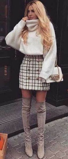 Beste Fall-Outfit-Idee mit einem Tweed-Rock - Dress up - Mode Cute Outfits For School, Cute Fall Outfits, Fall Winter Outfits, Outfits For Teens, Autumn Winter Fashion, Skirt Outfits For Winter, Winter Outfits Women 20s, Casual Winter, Christmas Outfits