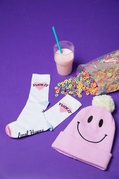 #DollsKill #LocalHeroes #photoshoot #lookbook #cute #fuckit #socks #beanie #pink #smiley #cereal #milk