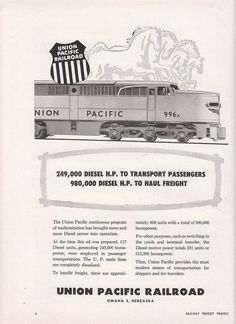 1955 Union Pacific Railroad Ad: UPRR #996A Diesel Locomotive & Galloping Horses