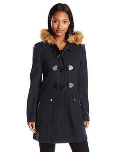 Tommy Hilfiger Women's Wool Utility Duffle Coat with Fur Trim Hood, Navy, X-Large