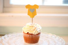 Baby Shower - Yellow Onesie Cupcake Toppers