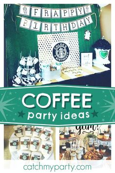 Check out this awesome Starbucks coffee themed birthday party! The cookies are fantastic! 18th Birthday Party Themes, Adult Party Themes, Adult Birthday Party, Birthday Party Decorations, 12th Birthday, Birthday Ideas, Starbucks Birthday Party, Birthday Coffee, Starbucks Coffee