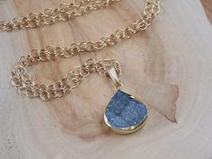 Dark Blue Druzy Pendant Necklace on a Gold Fill by MalieCreations, $45.00
