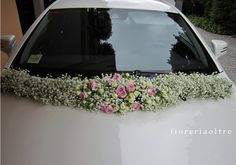 Fioreria Oltre/ Baby's breath and pink roses wedding car decoration