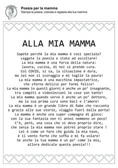 Poesia per la festa della mamma in quarantena a causa del Kids And Parenting, Crafts For Kids, Dads, Language, Education, School, San Valentino, Madonna, Friday