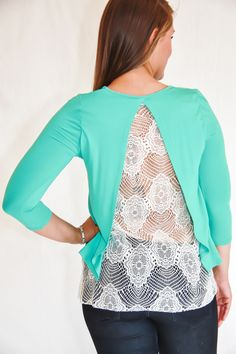 Lace Open Back Top - Dark Mint - Kevra Boutique*