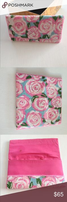 Lilly Pulitzer Beautiful Beaded Clutch Pink Roses Beaded Clutch - Vintage beading is in perfect condition- like new - inside has small stains-🌷 Lilly Pulitzer Bags Clutches & Wristlets