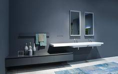 sistemi: PANTA REI ANTONIO LUPI - lavabo con mensola e cassettone sospeso a sbalzo