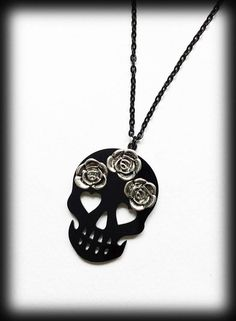 Black Skull Necklace with Silver Roses, Black Acrylic Pendant, Skulls and Roses, Handmade Gothic Jewelry, Gothic Gift, Alternative Jewelry by WhisperToTheMoon on Etsy