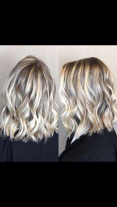 Short textured bob with blonde balayage