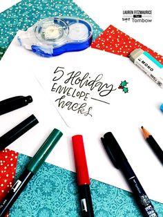 5 Holiday Envelope Hacks by Lauren Fitzmaurice Hand Lettering Envelopes, Calligraphy Envelope, Envelope Art, Doodle Lettering, Lettering Styles, Calligraphy Fonts, Script Fonts, Brush Lettering, Caligraphy