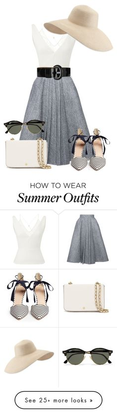 """Summer outfit"" by samoore on Polyvore featuring Roland Mouret, Dice Kayek, J.Crew, Ray-Ban, Tory Burch, Karen Millen and Eric Javits"