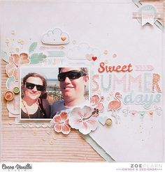 A gorgeous summer layout from Zoe using our brand new Endless Summer collection. (The wait is almost over - shipping to retailers has begun!) #cocoavanillastudio #cocoa_vanilla #scrapbook #layout #EndlessSummer #newcollection #embellishments #papercraft #memorykeeping #summer