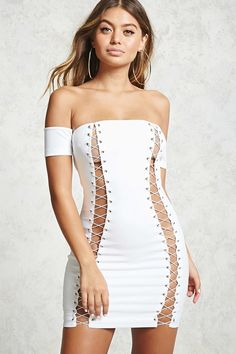 A knit dress featuring an elasticized off-the-shoulder neckline, a lace-up design at the front, short sleeves, a concealed zipper at the back and a bo… – Bodycon Dress Sexy Outfits, Pretty Outfits, Sexy Dresses, Cute Dresses, Short Dresses, Fashion Dresses, Cute Outfits, Sleeve Dresses, Pretty Clothes