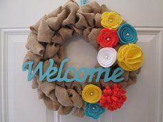 Spring Wreath, Burlap Wreath, Door Wreath, Felt Flower Wreath, Spring Decor, Welcome Wreath on Etsy, $40.00