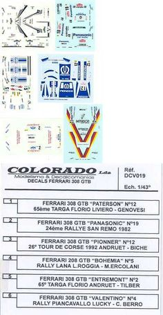 1 43 Scale 145976: Colorado Decals 1 43 Ferrari 308 Gtb 6 Different Race Versions -> BUY IT NOW ONLY: $19.99 on eBay!