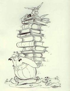 Ilustración de Astérix y Obélx, buenos lectores, por Uderzo.