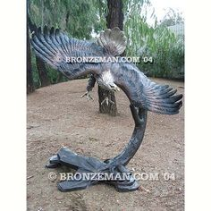 """""""Against the Wind"""" Bronze Eagle  This 5 ft. tall masterpiece captures grace and strength. All will marvel at this work of art at your home or office. Also see """"With the Wind"""" a stunning masterpiece going the other direction. Call me today at (877) 528-2531."""