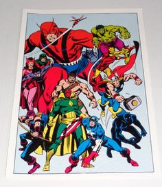 1970's Avengers poster pin-up 1:Original 1978 Marvel Comics pinup of Thor,Hulk,Iron Man,Captain America,Black Widow,Hawkeye/John Buscema art