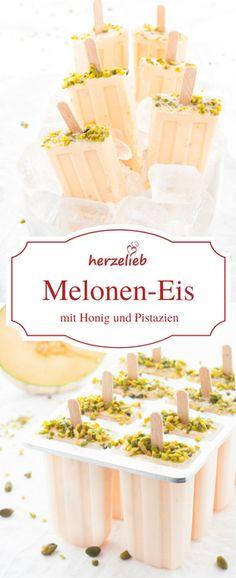 Eis Rezepte - Icecream: Leckeres Meloneneis mit Honig und Pistazie. Eis am Stil zum Träumen! herzelieb - der Foodblog!