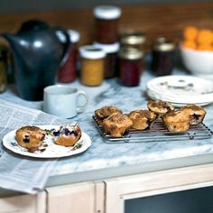 Blueberry-Sour Cream Muffins | Some little rituals, like baking on Sunday for the week, provide cookbook author Eugenia Bone a kind of stress-free reprieve, and at the same time let her stock up on fuel for the family, like these muffins.