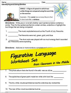 Figurative Language and imagery activity sheets for upper elementary and middle school language arts teachers - includes: similes metaphors personification hyperbole imagery that uses the five senses and writing with figurative language and imagery.