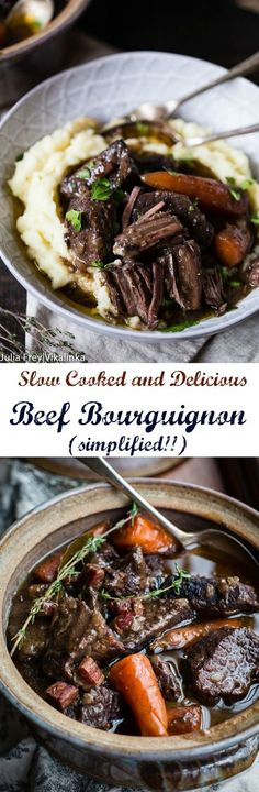 Classic French Beef Bourguignon is a slow cooked beef stew, which produces tender, melt in your mouth morsels, a recipe everyone needs to learn how to cook. Crock Pot Slow Cooker, Slow Cooked Beef Stew, Slow Cook Beef Recipes, Slow Cooker Lamb Recipes, Slow Cook Soup, Stewing Beef Recipes, Stew Meat Recipes, How To Cook Beef, Beef Stew Meat
