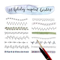 Holiday inspired borders for cards, hand lettering, and bullet journal  Holiday bullet journal borders, christmas bullet journal ideas