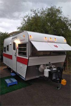 Camper Trailer For Sale, Vintage Campers Trailers, Camper Trailers, Shabby Chic Campers, Sewer System, Sierra Vista, Custom Shelving, Plastic Container Storage, Fresh Water Tank