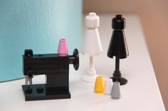 Lego sewing machine and dress form with interchangeable lego threads