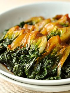 Braised Bok Choy, a Simple Shanghainese Dish - Another vegan dish, serve with rice for a light meal. From tastehongkong.com #vegetable #bokchoy