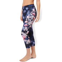 Accessorize Lotus Floral Print Leggings ($49) ❤ liked on Polyvore featuring pants, leggings, white floral leggings, floral pants, white cropped leggings, wide-waistband leggings and cropped trousers