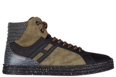 HOGAN REBEL MEN'S SHOES HIGH TOP LEATHER TRAINERS SNEAKERS R141 BASKET. #hoganrebel #shoes #