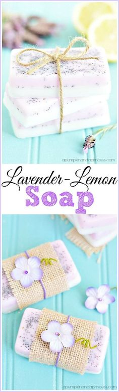 Homemade Lavender Lemon Soap - layered handmade soap made with lemon and lavender essential oil. This DIY soap makes a great Mother's Day gift idea! Homemade Soap Recipes, Homemade Gifts, Diy Gifts, Homemade Bar, Soap Gifts, Diy Lipbalm, Diy Savon, Lemon Soap, Homemade Beauty Products