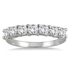 AGS Certified 1 Carat TW Seven Stone Diamond Wedding Band in 14K White Gold (K-L Color, I2-I3 Clarity)