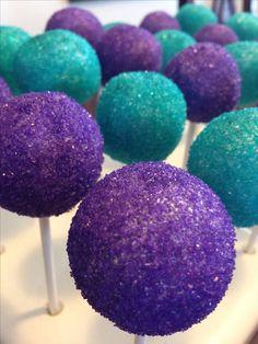 Vanilla cake pops in pretty teal and purple!