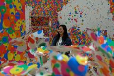 Psychedelic colours, signature dots, provocative performance art pieces and more! Psychedelic Colors, Yayoi Kusama, Singapore Travel, Instagram Worthy, Sprinkles, Art Pieces, Dots, Rainbow, Colours