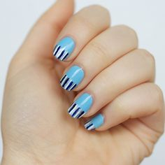 Baby Blue Mini Striped Manicure with Chrome Girl Nail Polish on Living After Midnite