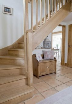 Hall Cottage Staircase, Open Staircase, Wooden Staircases, House Stairs, Staircase Design, Staircase Outdoor, Stairways, Oak Stairs, Wooden Stairs