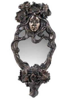 Art Noveau Oval Wall Mirror with Woman and Candleholder