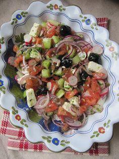 La cuisine d'ici et d'ISCA: Salade de tomates, concombre, radis & feta